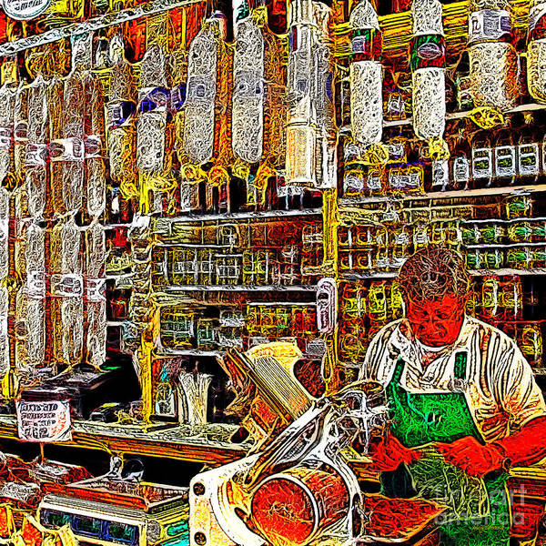 Wingsdomain Poster featuring the photograph San Francisco North Beach Deli 20130505v2 Square by Wingsdomain Art and Photography