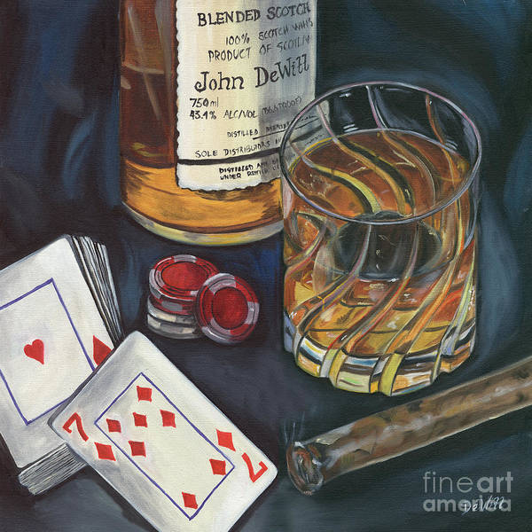 Scotch Poster featuring the painting Scotch And Cigars 4 by Debbie DeWitt