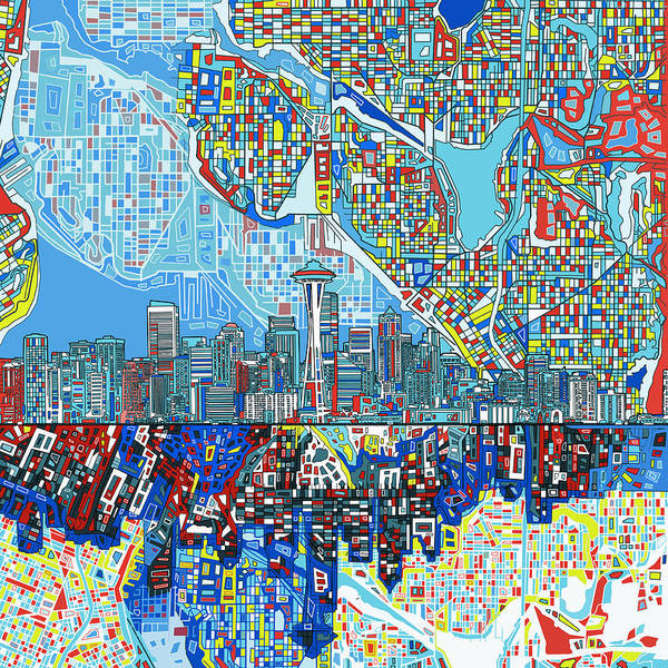 Seattle Skyline Poster featuring the painting Seattle Skyline Abstract 7 by Bekim Art