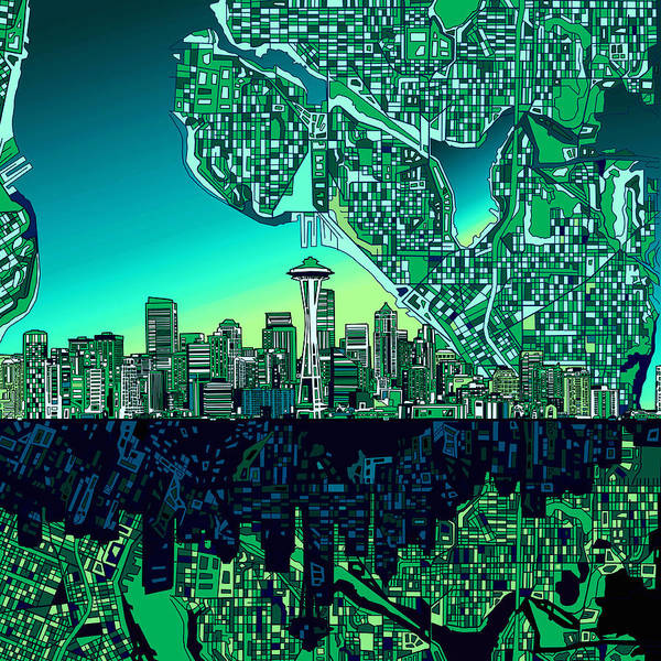Seattle Skyline Poster featuring the painting Seattle Skyline Abstract by Bekim Art