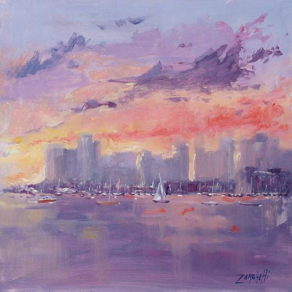 City Poster featuring the painting Setting Sun Over Boston by Laura Lee Zanghetti