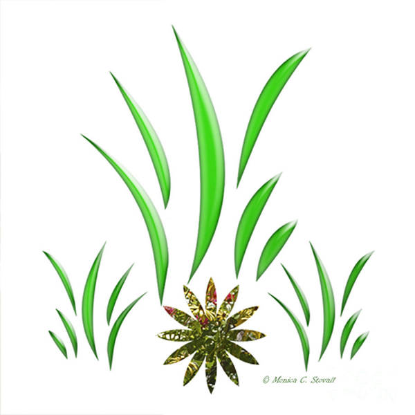 Green Designs Poster featuring the digital art Shades Of Green Leaves And Green Flower Design by Monica C Stovall
