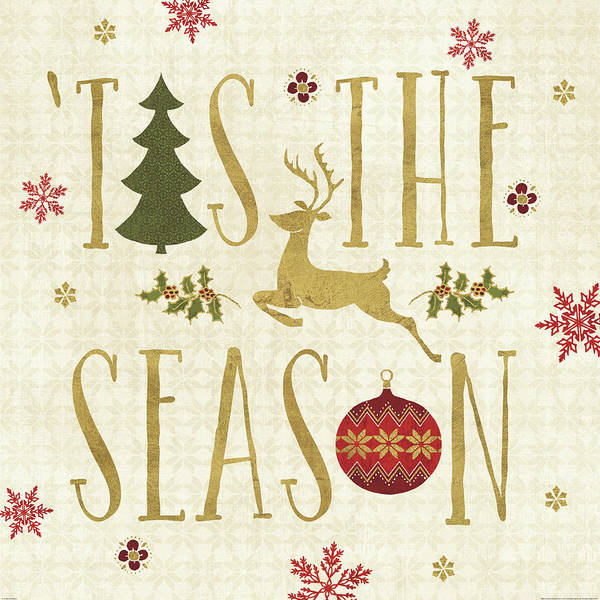 Christmas Poster featuring the painting Simply Christmas II by Veronique Charron