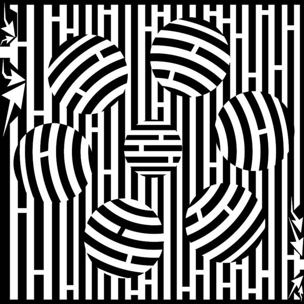 Six Poster featuring the drawing Six Shooter Illusion Maze by Yonatan Frimer Maze Artist