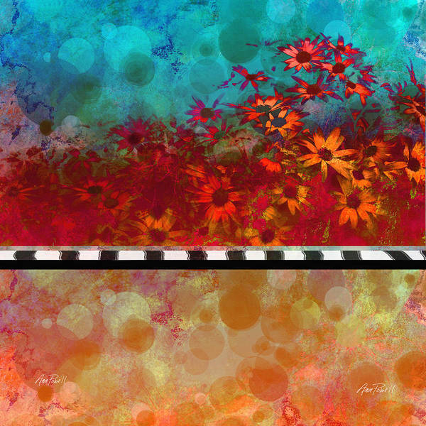 Daisiessizzle: Original Abstract Floral Art Created With Photo Collage Poster featuring the digital art Sizzle Abstract Floral Art by Ann Powell