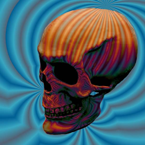 <a> Abstract Poster featuring the digital art Skull Aura Orange by Jason Saunders