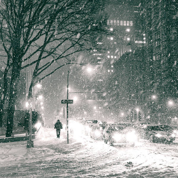 Nyc Poster featuring the photograph Snow Swirls At Night In New York City by Vivienne Gucwa