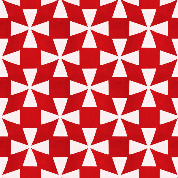 Red Poster featuring the painting Spice Twirl- Red And White Pattern by Linda Woods