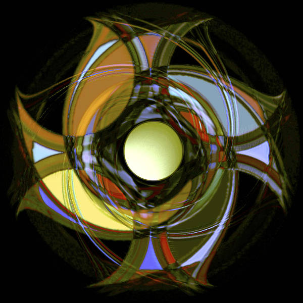Geometric Abstract Poster featuring the digital art Spinners 1 by Warren Furman