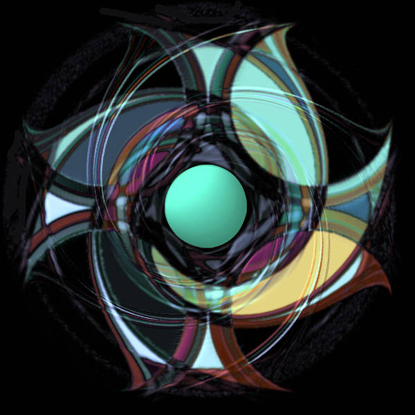 Geometric Abstract Poster featuring the digital art Spinners 5 by Warren Furman