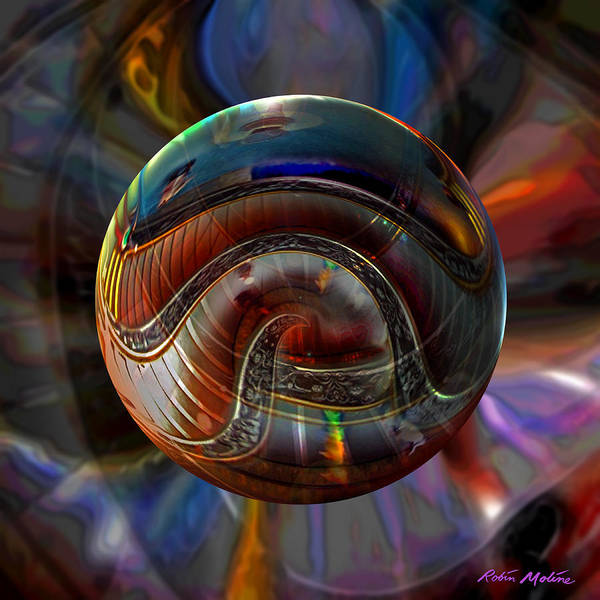 Vatican Art Poster featuring the digital art Spiraling The Vatican Staircase by Robin Moline
