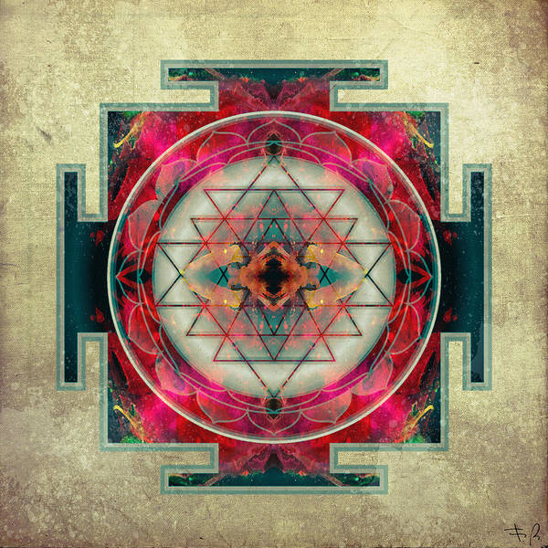 Mandala Poster featuring the digital art Sri Yantra by Filippo B