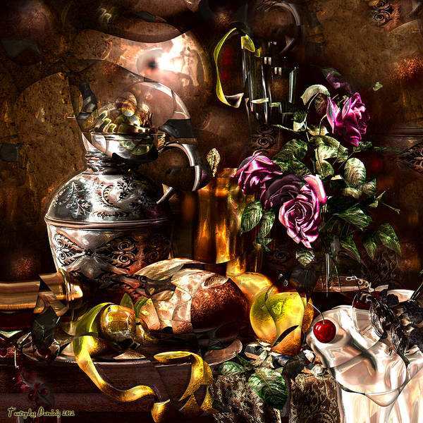 Original Works Signed Numbering Limit Canvas Poster featuring the digital art Still Life With A Cherry. by Tautvydas Davainis