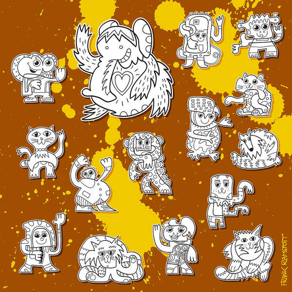 Frank Ramspott Poster featuring the digital art Street Art Doodle Creatures Urban Art by Frank Ramspott
