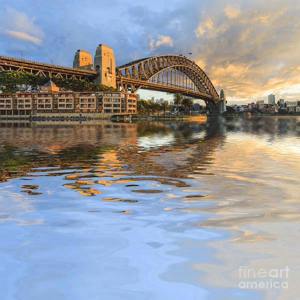 Australia Poster featuring the photograph Sydney Harbour Bridge Australia Spectacular Early Morning Light by Colin and Linda McKie