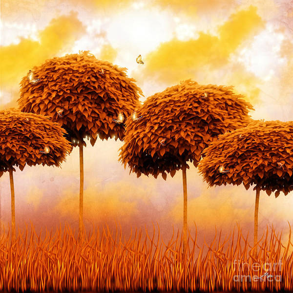 Tangerine Treesand Marmalade Skies Poster featuring the painting Tangerine Trees And Marmalade Skies by Mo T