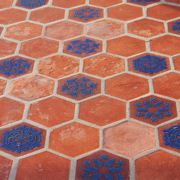 Terracotta Tiles With Blue Poster