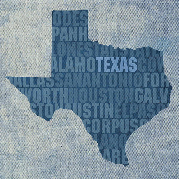Texas Word Art State Map On Canvas Dallas San Antonio Houston Galveston Austin El Paso Fort Worth Texan Lone Star Usa America Alamo Poster featuring the mixed media Texas Word Art State Map On Canvas by Design Turnpike