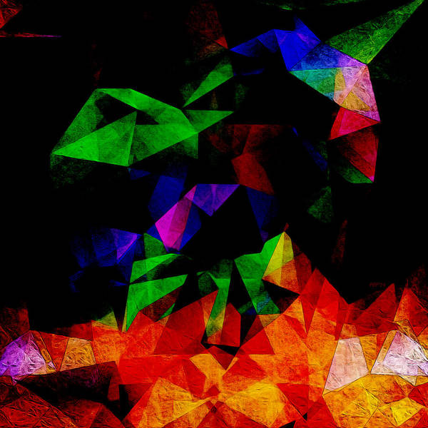 Art Poster featuring the digital art Textured Triangles With Color by Phil Perkins