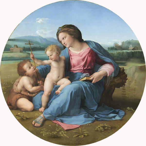 High; Renaissance; Virgin; Mary; Jesus; Christ; Infant; Child; Cross; Crucifix; St. John; Baptist; Saint; Roundel Poster featuring the painting The Alba Madonna by Raffaello Sanzio of Urbino