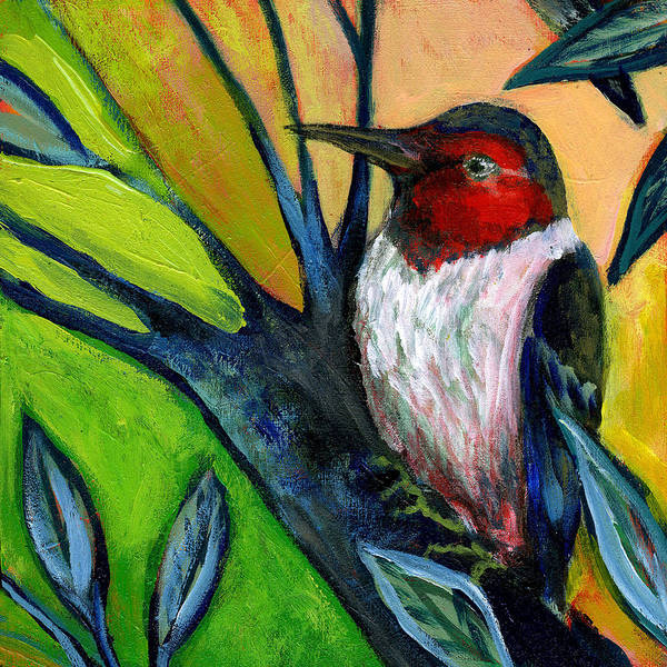 Woodpecker Poster featuring the painting The Neverending Story No 124 by Jennifer Lommers
