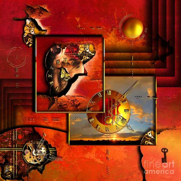 Clock Poster featuring the digital art The Tortures Never Stop by Franziskus Pfleghart