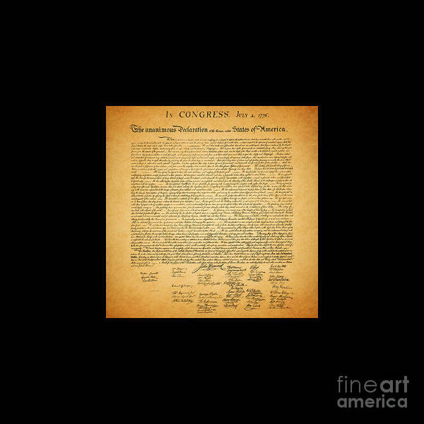 Usa Poster featuring the photograph The United States Declaration Of Independence - Square Black Border by Wingsdomain Art and Photography