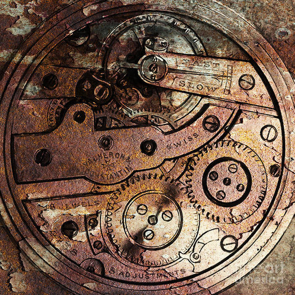 Steampunk Poster featuring the photograph Time In Abstract 20130605rust Square by Wingsdomain Art and Photography