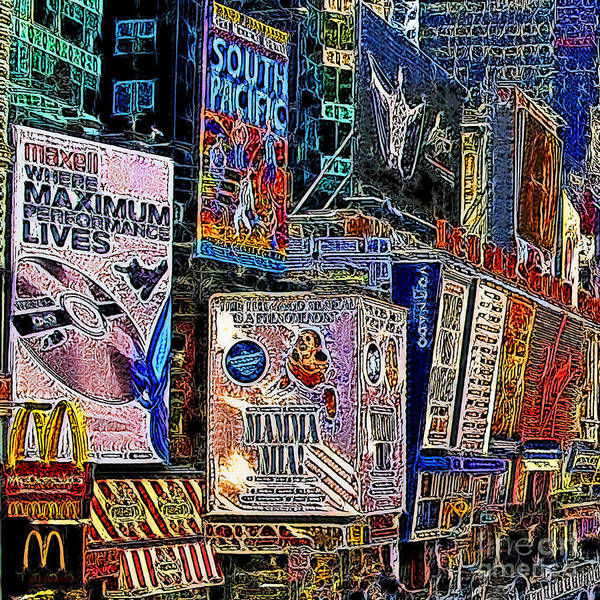 Time Square Poster featuring the photograph Time Square New York 20130503v9 Square by Wingsdomain Art and Photography