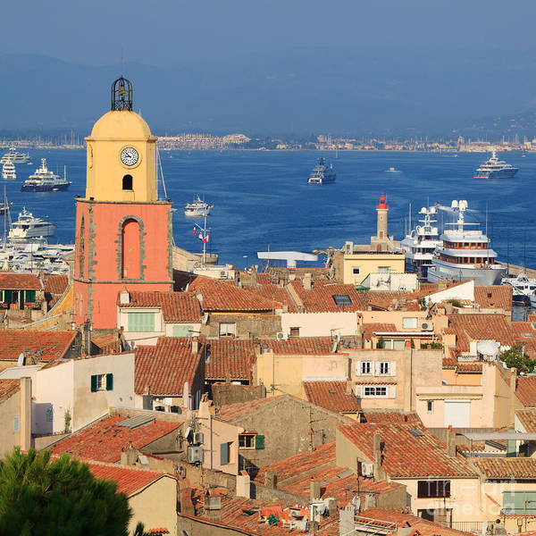 Bell Tower Poster featuring the photograph Town Of St Tropez Cote D'azur France by Matteo Colombo
