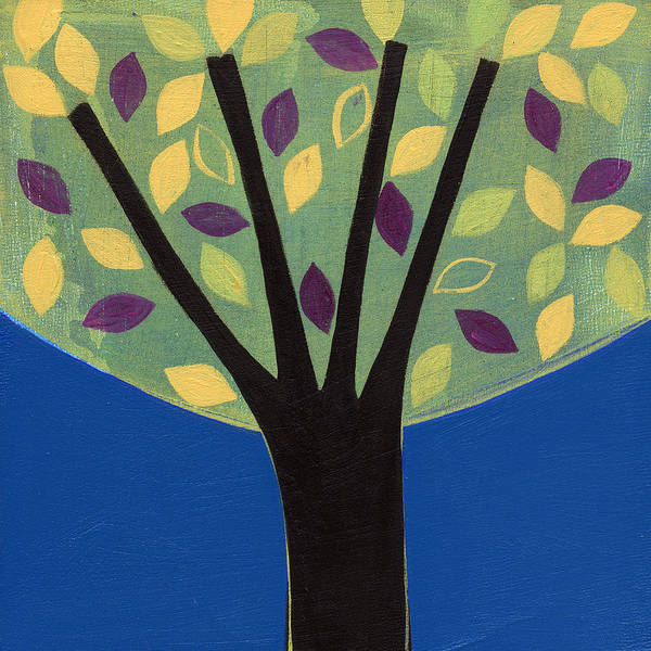 Tree Poster featuring the painting Tree In Blue by Laura Nugent