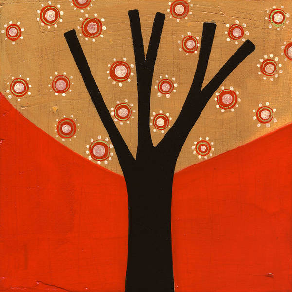 Tree Poster featuring the painting Tree In Orange by Laura Nugent