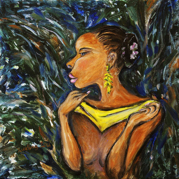 Figurative Poster featuring the painting Tropical Shower by Xueling Zou