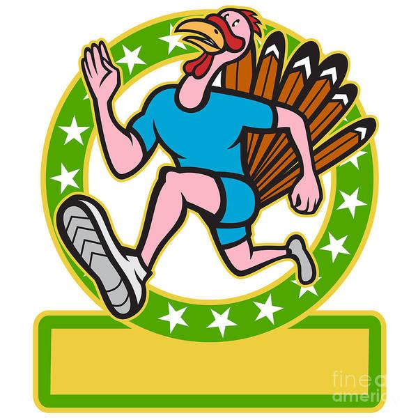 Turkey Poster featuring the digital art Turkey Run Runner Side Cartoon by Aloysius Patrimonio