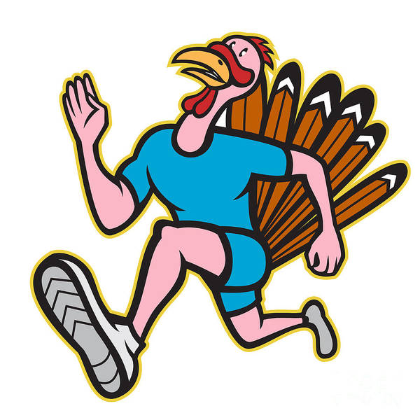 Turkey Poster featuring the digital art Turkey Run Runner Side Cartoon Isolated by Aloysius Patrimonio