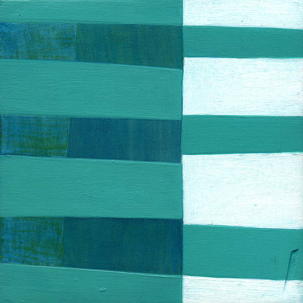 Turquoise Poster featuring the painting Turquoise Misalignment by Laura Nugent
