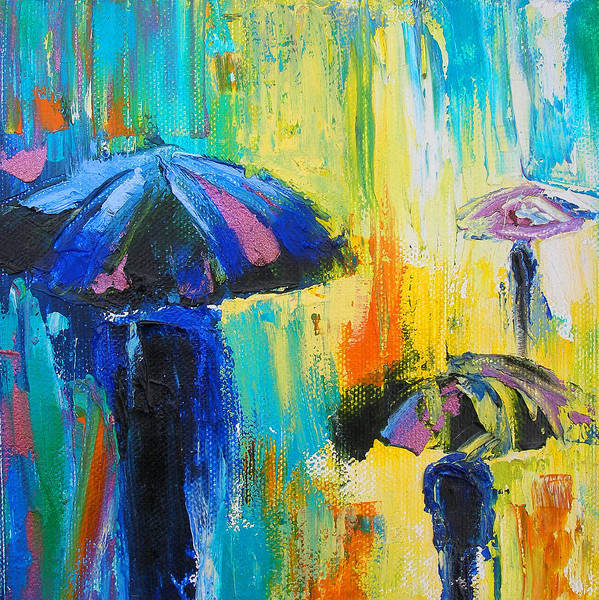 Rain Poster featuring the painting Turquoise Rain by Susi Franco