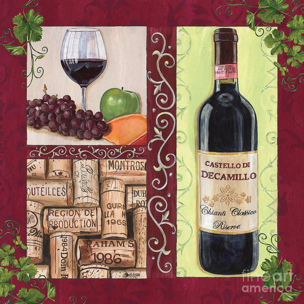 Wine Poster featuring the painting Tuscan Collage 2 by Debbie DeWitt