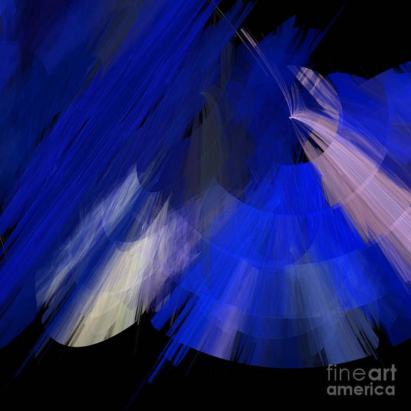 Ballerina Poster featuring the digital art Tutu Stage Left Blue Abstract by Andee Design