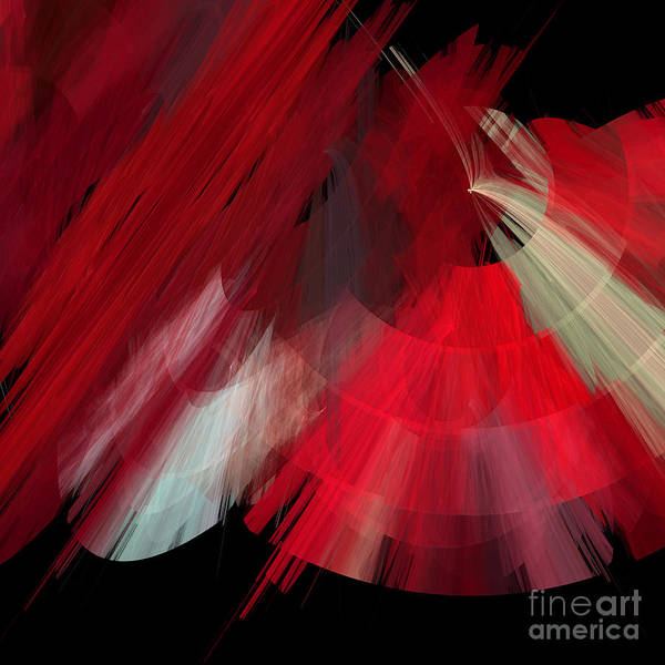 Ballerina Poster featuring the digital art Tutu Stage Left Red Abstract by Andee Design