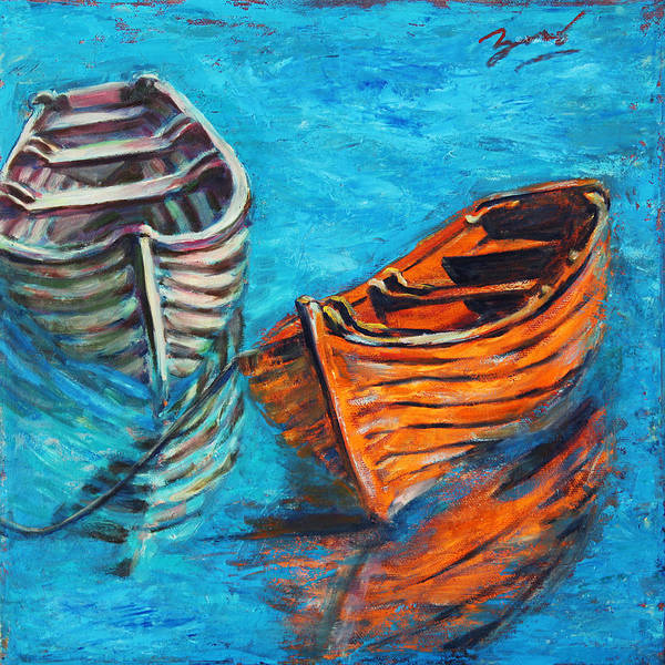 Rowboats Poster featuring the painting Two Wood Boats by Xueling Zou