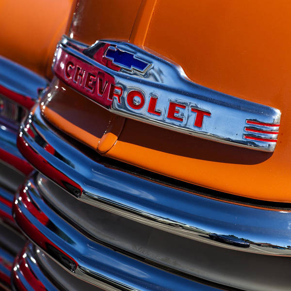 Antique Poster featuring the photograph Vintage Orange Chevrolet by Carol Leigh