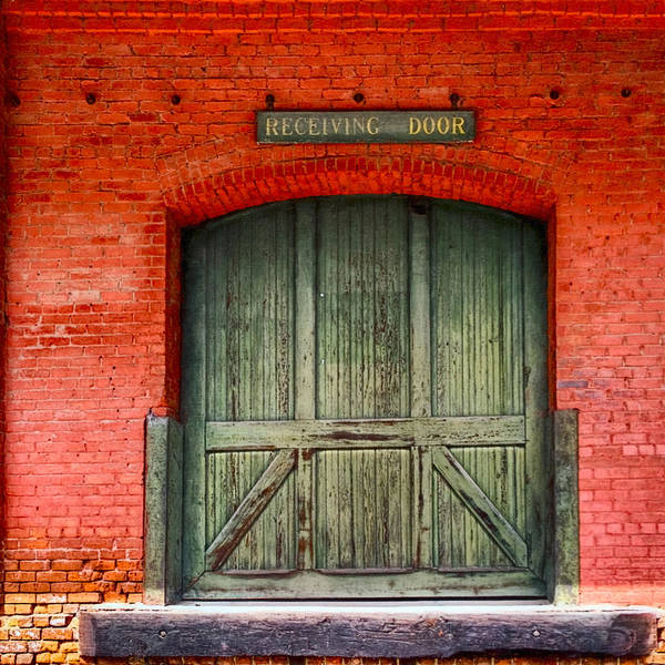 Augusta Poster featuring the photograph Vintage Train Depot Receiving Door - Augusta by Mark E Tisdale