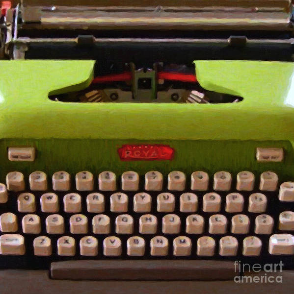 Typewriter Poster featuring the photograph Vintage Typewriter - Painterly - Square by Wingsdomain Art and Photography