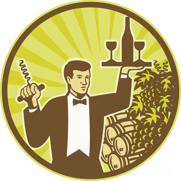 Waiter Poster featuring the digital art Waiter Serving Wine Grapes Barrel Retro by Aloysius Patrimonio