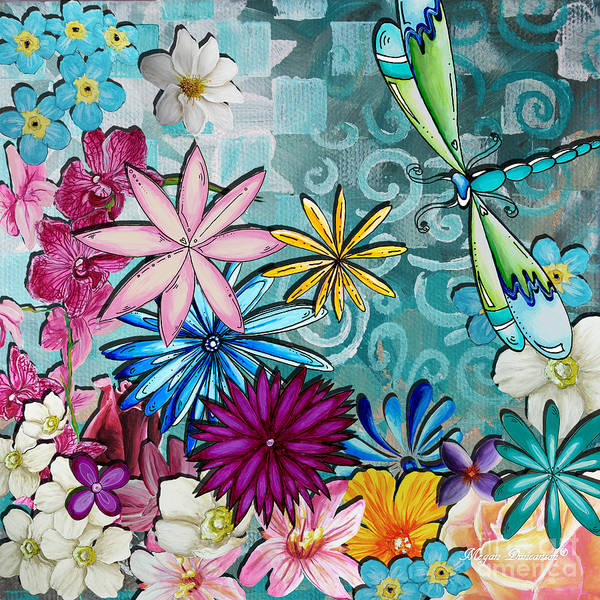 Flowers Poster featuring the painting Whimsical Floral Flowers Dragonfly Art Colorful Uplifting Painting By Megan Duncanson by Megan Duncanson