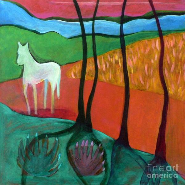 White Horse Poster featuring the painting White Horse by Elizabeth Fontaine-Barr