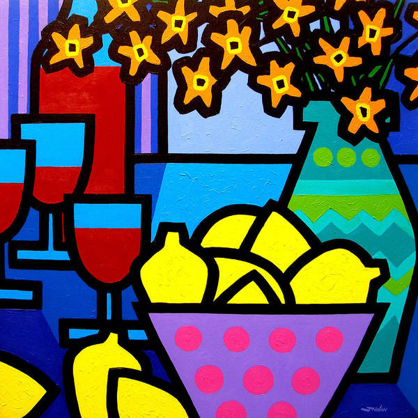 Still Life Poster featuring the painting Wine Lemons And Flowers by John Nolan
