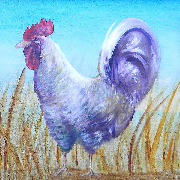 Chicken Poster featuring the painting Wyandotte Rooster by Judy Bruning