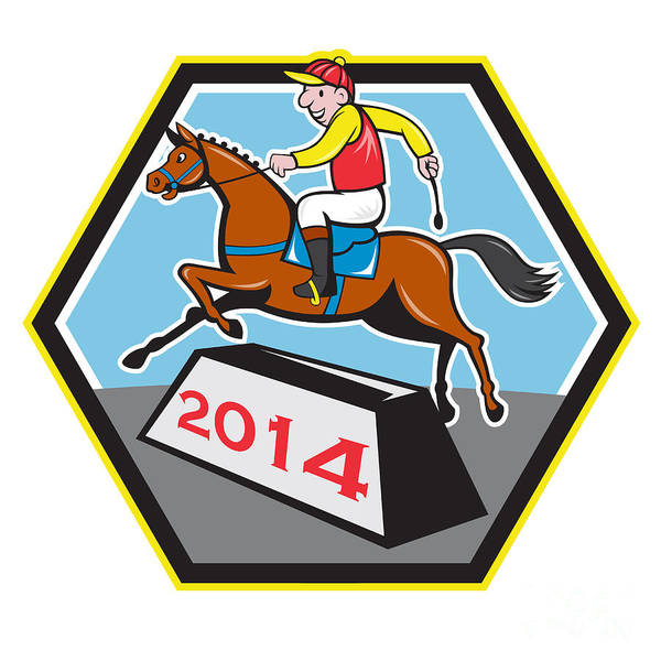 Horse Poster featuring the digital art Year Of Horse 2014 Jockey Jumping Cartoon by Aloysius Patrimonio